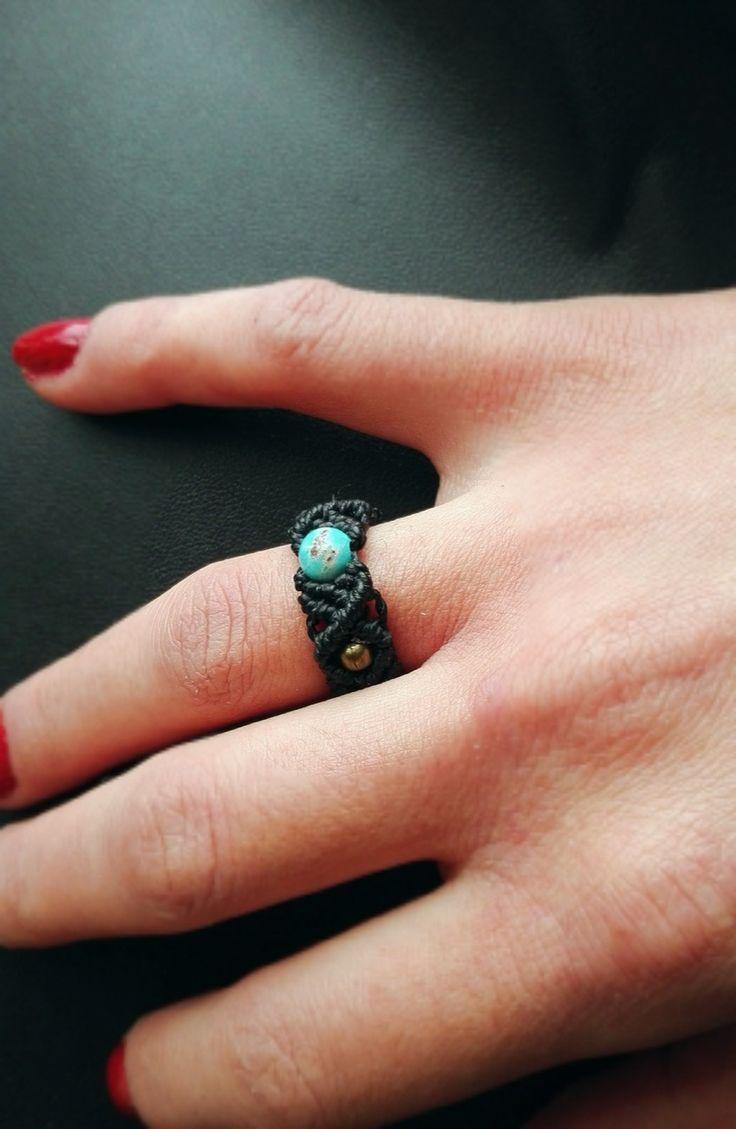 Bague en macramé pierre jaspe sédiment bleue : Bague par stonanka