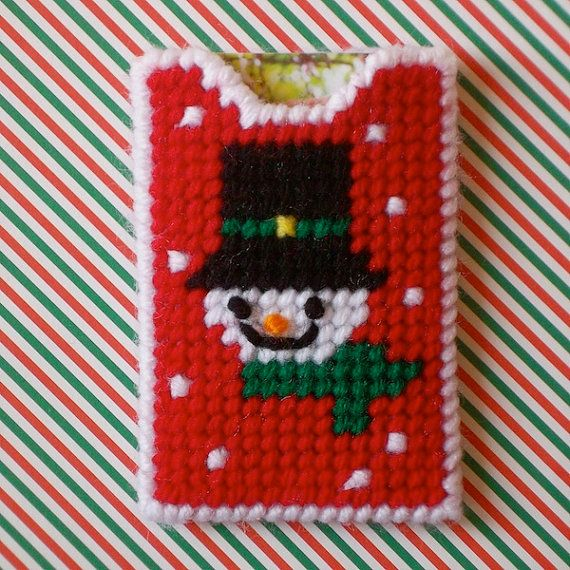 """Plastic Canvas: Snowman Gift Card Holder -- """"Ready, Set, Sew!"""" by Evie (Etsy). . .plan on making more, in different patterns, too :)"""