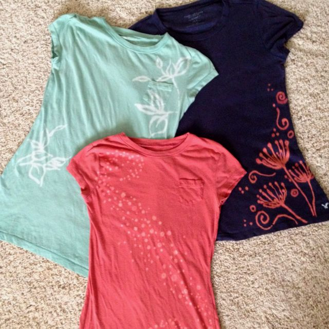 The bleach pen shirts I made today! It was really easy and fun! Directions found here...http://ladywiththeredrocker.com/2011/07/25/bleach-pen-shirts/