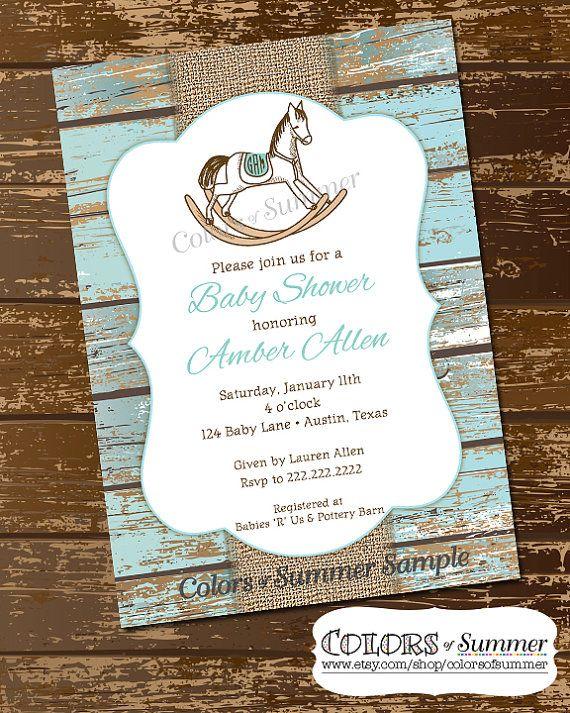 Rocking Horse Baby Shower Invitation, Rustic Invite, White Wash Wood,  Monogram Invite, Burlap Baby Shower Invitation, Invite   Digital File