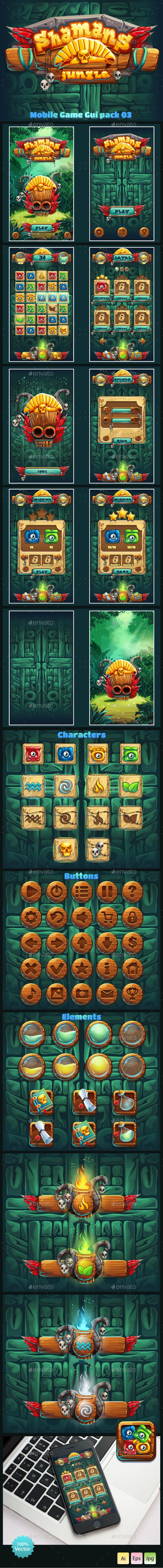 Jungle Shamans Mobile Game UI Template Vector EPS, AI Illustrator. Download here: http://graphicriver.net/item/jungle-shamans-mobile-gui/15358872?ref=ksioks