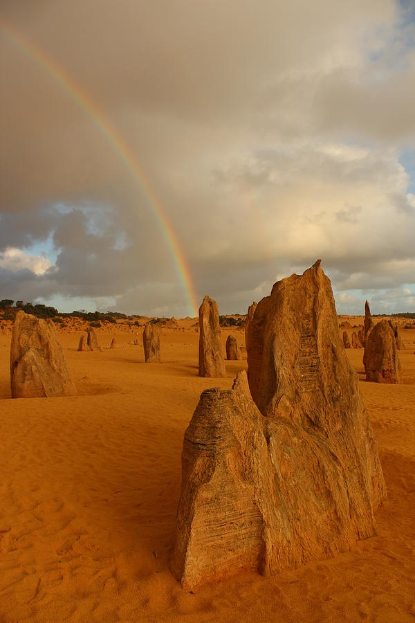 PINNACLES AU REPINS - ✮ Pinnacles Rainbow - Australia...  A rare and wonderful moment at a truly magical place.  Have you heard of the Pinnacles in Cervantes, Western Australia?  It's truly one of the wonders of the world.  You can find out more if you go to www.CervantesLodge.com.au #travel #wonders #pinnacles #australia