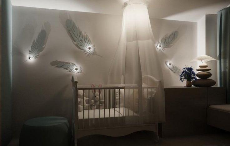 décoration chambre bébé en plumes blanches et spots