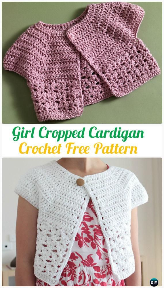 Crochet Urban Girl Cropped Cardigan Free Pattern Crochet Kids