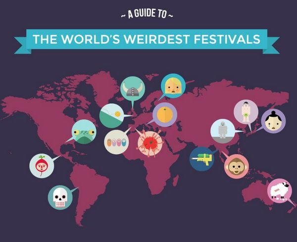Wacky World Festival Graphics - This Infographic Looks at Some of the Most Bizarre World Festivals (GALLERY)