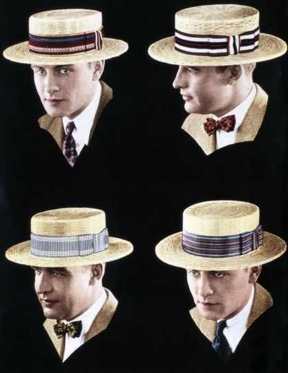 Men in the 20s wore brim hats like these. They could be worn formally and casually and men wore them with most outfits. They were used to block men's eyes from the sun and to complete even a formal outfit.