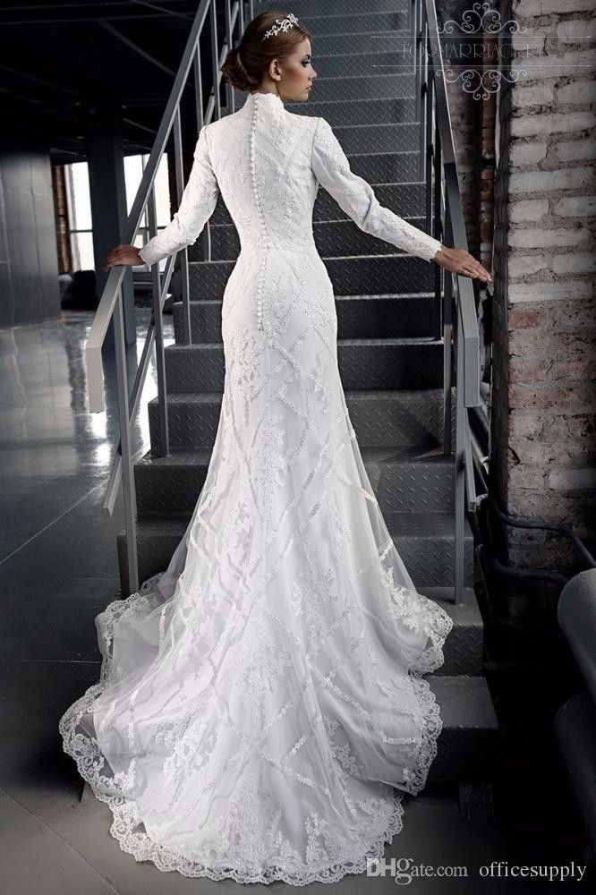 long-sleeve, high-neck wedding dress #modest #tznius