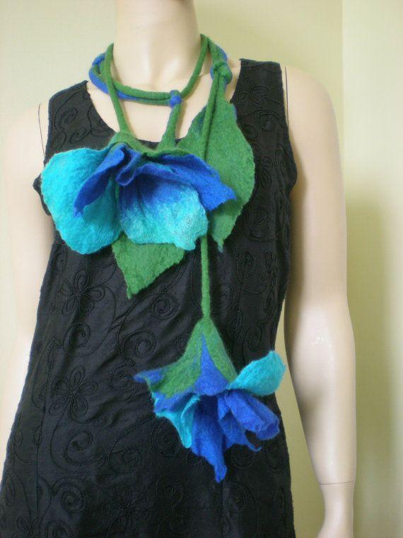 Felt flowers decorative scarf