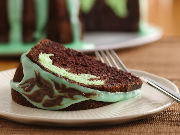 """""""Rich and decadent"""" chocolate mint swirl cake with cream cheese filling and chocolate mint glaze. Has lots of high ratings."""