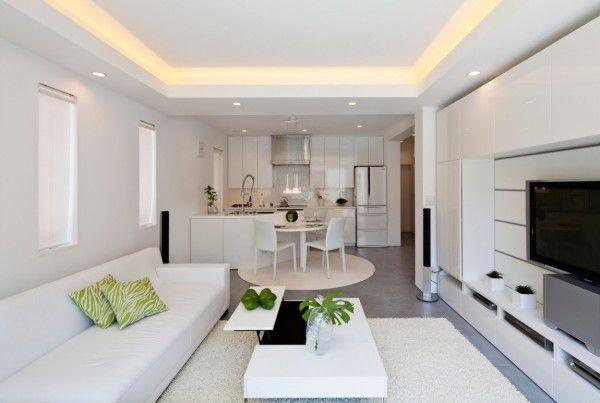 Living Room from White Modern Interior Design by RCK Design in Tokyo 600x403 White Modern Interior Design by RCK Design in Tokyo
