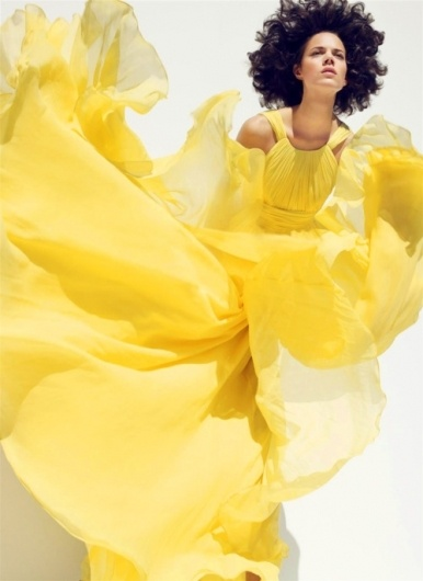 Sara Lindholm - thecysight: Freja Beha Erichsen by Sølve Sundsbø...: Marching 2008, Freja Beha Erichsen, Dresses Up, Yellow Dresses, Michael Kors, Mellow Yellow, Harpers Bazaars, Fashion Photography, Storms Cloud