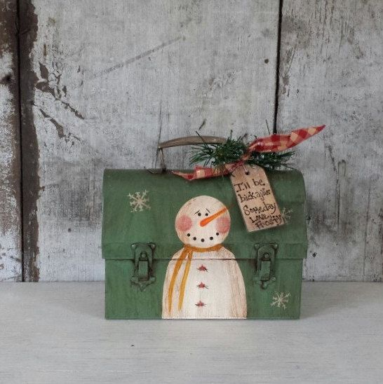 Primitive Snowman Vintage Lunch box,Primitive Snowmen,Metal Snowman,Painted Snowman,Rustic Snowman,Country Snowman,Metal Bucket by FlatHillGoods on Etsy