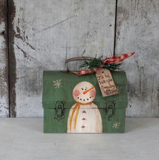 Primitive Snowman Vintage Lunch box,Primitive Snowmen,Metal Snowman,Painted Snowman,Rustic Snowman,Country Snowman,Metal Bucket by FlatHillGoods on Etsy