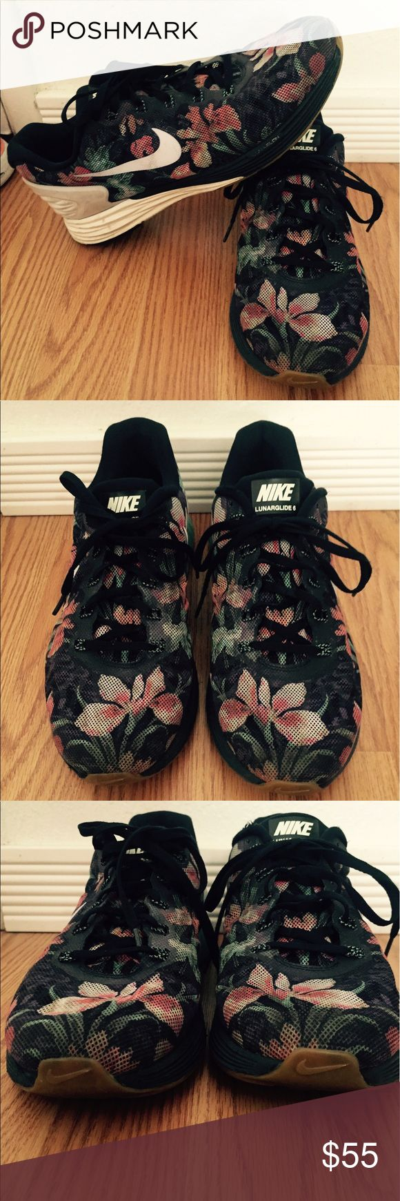 Floral print Nike LUNARGLIDE 6 Floral print Nike LUNARGLIDE 6. Love love love this print!! As you can see I have way too many shoes so if you love a cool print and nikes, then these are perfect 🌸🌺🌸🌺🌸 great used condition.  Womens 10, converts to about a men's 9 since they are 27 cm. Nike Shoes Athletic Shoes
