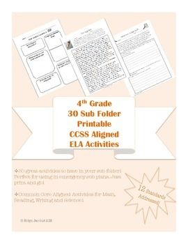 30 great activities to have in your sub folder! Perfect for using in emergency sub plans. Just print and go!  Activities for Math, Reading, Writing and Science! Each worksheet includes notation of the CCSS that it addresses.  Also includes: a fact sheet for you to fill out about your class, a form substitutes can use to leave you notes for the day, and a sheet for you to fill out with information about any behavioral situations subs should be aware of.  A master sheet lists each activity and…
