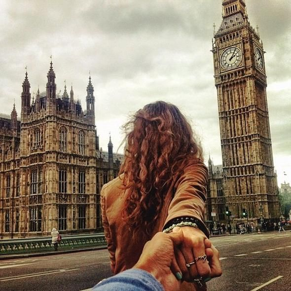 Gorgeous! A woman leads her boyfriend all around the world. Click to see more photos.