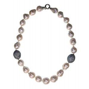 Collar corto de perlas barrocas blancas cierre plata www.sanci.es