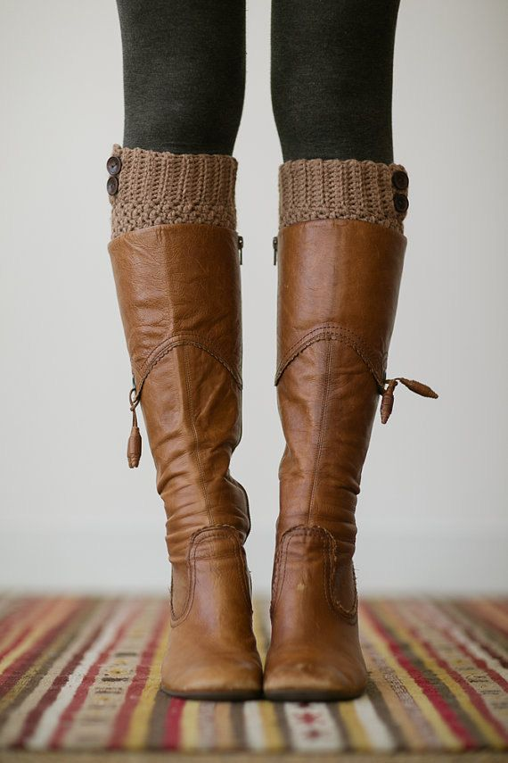 Knitted Boot Cuffs, Faux Leg Warmers, or Boot Toppers with Chunky Knit and Wooden Working Buttons for Women and Teens in Caramel Tan on Etsy, $28.00