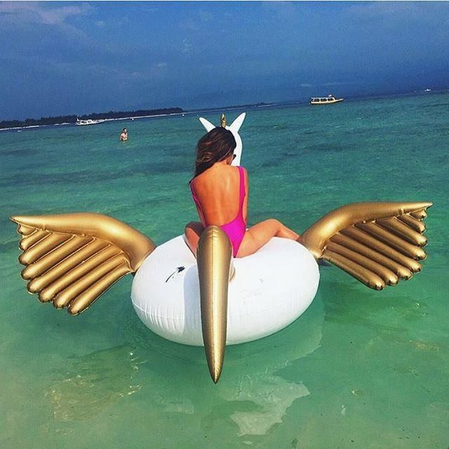 LUXE PEGASUS UNICORN POOL FLOAT One of the best known creatures in Greek Mythology brought to life for your lounging pleasure. The Pegasus is a winged divine stallion originally fathered by Poseidon, God of the Sea and is the only inflatable pool toy known to elevate your next water experience. This is not a unicorn, this is a giant Pegasus pool float. Take flight!