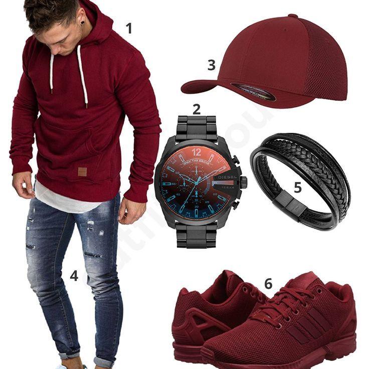 Estilo casual con capucha roja, adidas y gorra | Swag