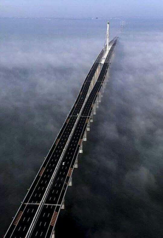 26.4 miles long bridge in the sea, China