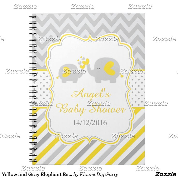Yellow and Gray Elephant Baby Shower Planner Notebook