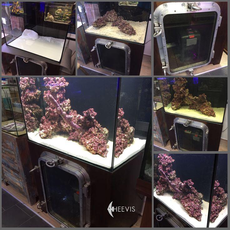 Nieuw in de #Heevis winkel in Eindhoven. TITANIC aquarium meubel, gemaakt van #sloophout met een oude patrijspoort van een vrachtschip. De techniek van het aquarium is zichtbaar door het venster. Prachtig met een zeeaquarium. Het TITANIC meubel maakt deel uit van een groot assortiment sloophouten meubels bij #Heevis.