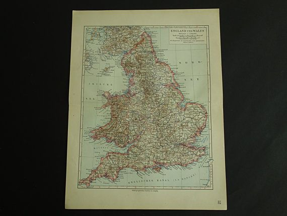 ENGLAND old map of England and Wales 1913 by VintageOldMaps