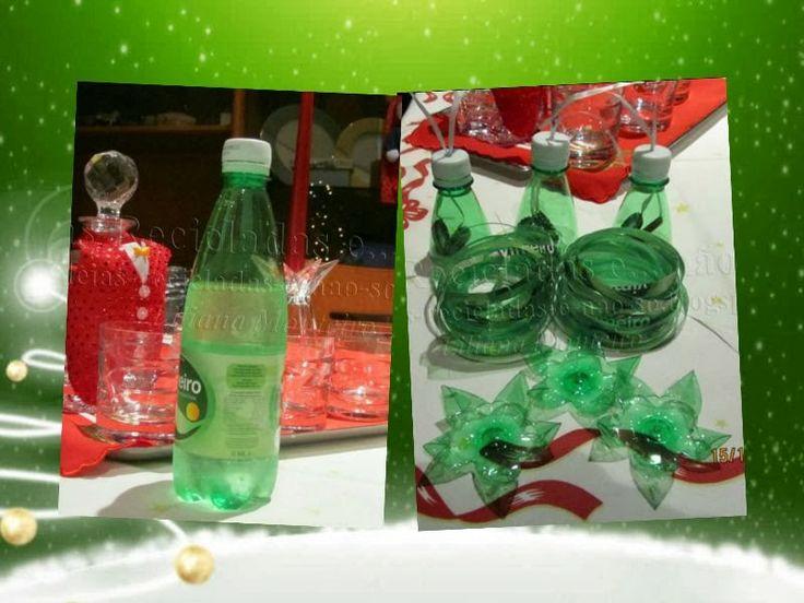 A transformação de uma garrafa de plástico (PET) em três lindos enfeites de Natal. Reciclagem. Decoração de Natal. Com Passo a Passo.