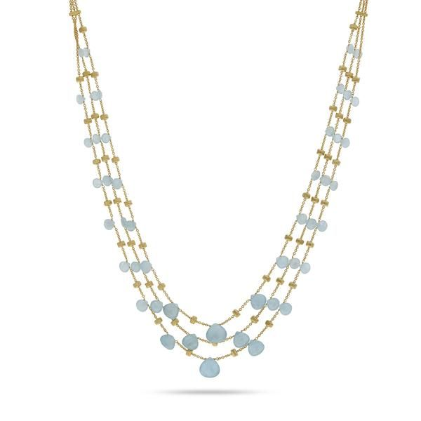 18K yellow gold three strand necklace with tabeez cut Aquamarine gemstones. A timeless and playful Marco Bicego classic, this Paradise Aquamarine Gemstone Necklace is hand engraved by Italian artisans and composed of hand picked stones.
