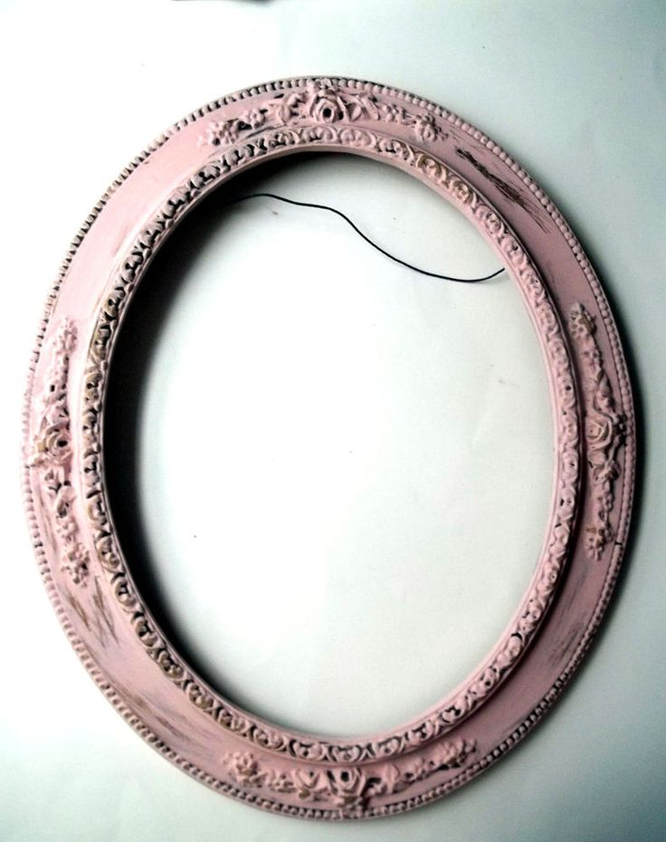 details about picture frame oval ornate wood picture frame chalk paint pink distressed 14 x 17