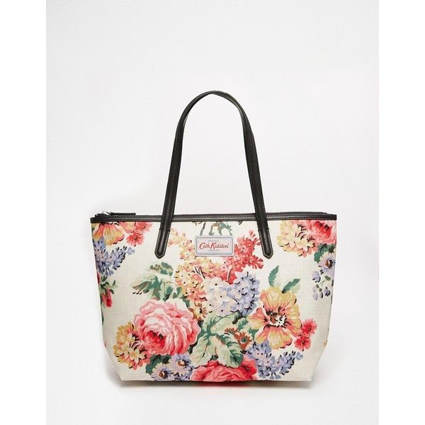 Cath Kidston Leather Trim Tote Medium ($108) ❤ liked on Polyvore featuring bags, handbags, tote bags, bloomsbury bouquet, white purse, zip top tote bag, cath kidston, white tote and zip top tote