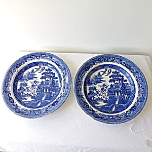 Pair Wedgwood Willow Pattern Large Dished Plates