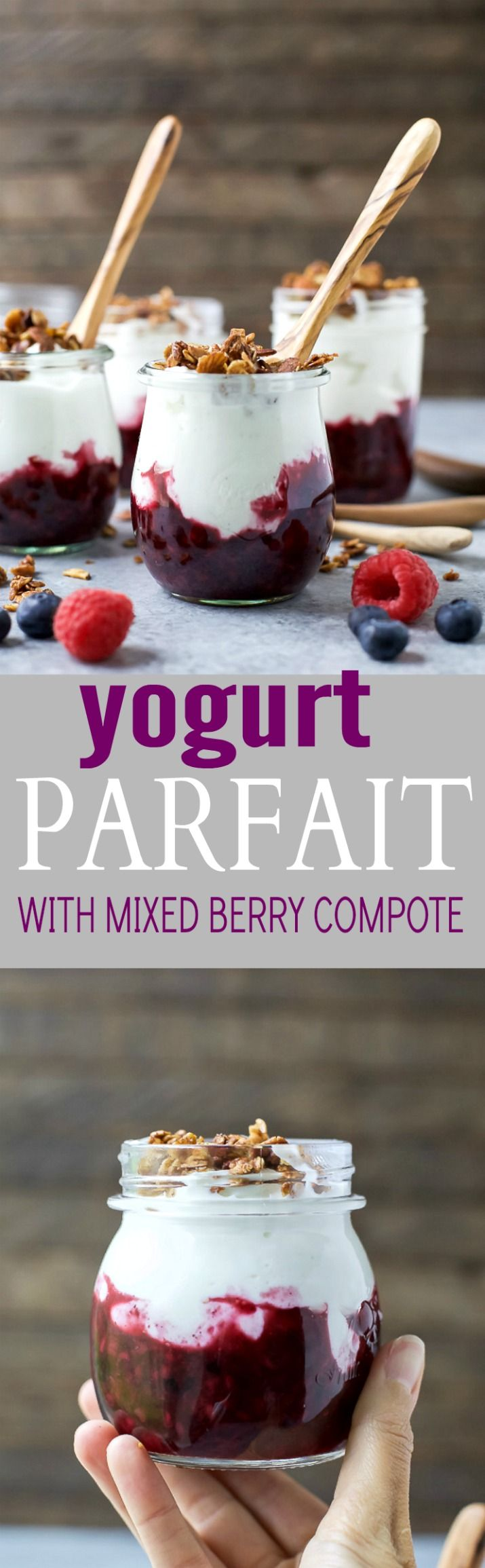 Fresh Yogurt Parfait with a Mixed Berry Compote and crunchy vanilla almond granola - an easy breakfast that's kid friendly! #ad #UndeniablyDairy @DairyGood