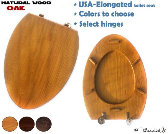 USA -Elongated wooden toilet seat (3 colors to choose) || Wooden toilet, Soft close, Slow close, Rustic toilet seat for your bathroom