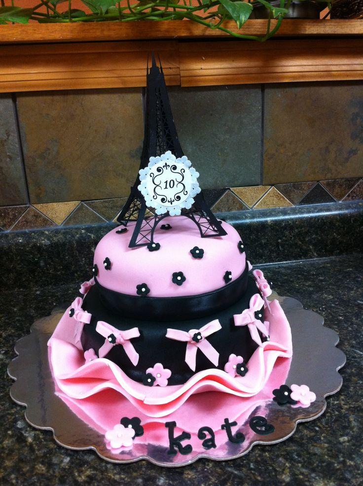 Kate's 10th Bday Paris inspired cake! Oo la la.