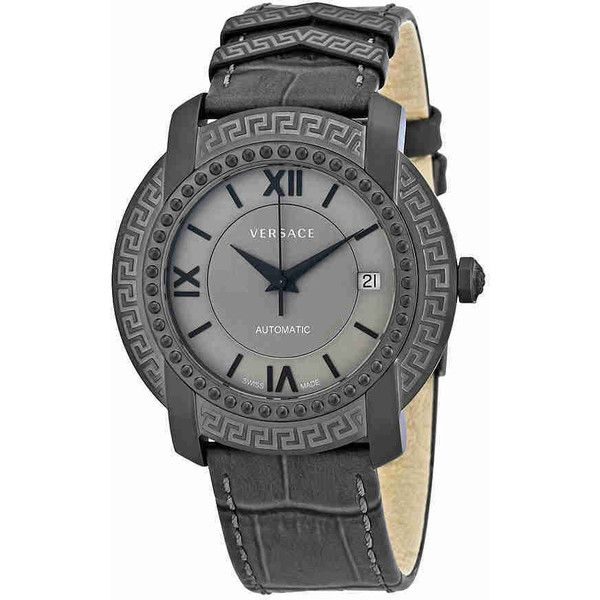 Versace DV25 Automatic Grey Dial Unisex Watch (3.705 DKK) ❤ liked on Polyvore featuring jewelry, watches, leather-strap watches, crown jewelry, see through watches, round watches and transparent dial watches