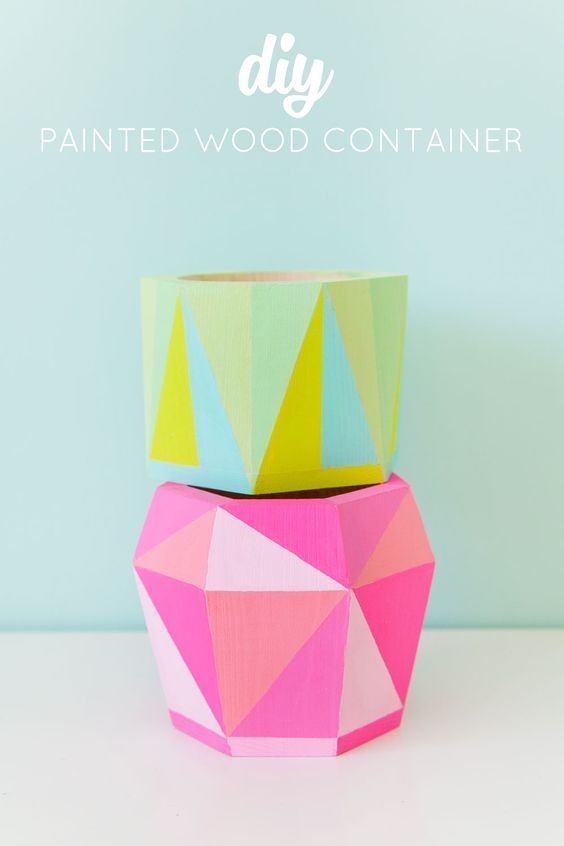 Add color to your workspace with DIY geo-painted containers from @TellLoveParty #12MonthsofMartha · Owl CraftsDiy WoodDiy ...