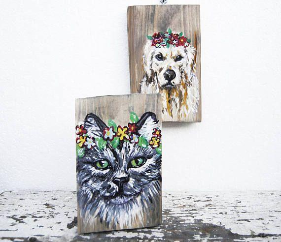 Custom flower crown pet portrait, Pet caricature painting, Pet portrait wood, Pet loss gift portrait, Bespoke pet portrait, Pet lover gift