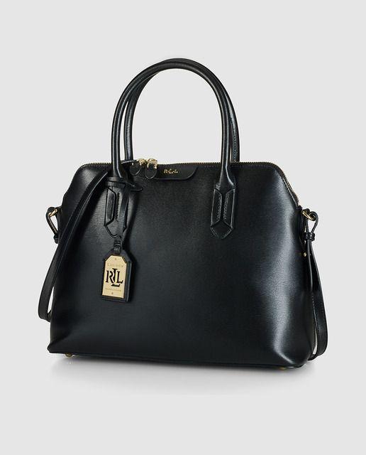 Bolso de mano en negro con cierre de cremallera y colgante de la firma · Lauren Ralph Lauren · Moda · El Corte Inglés
