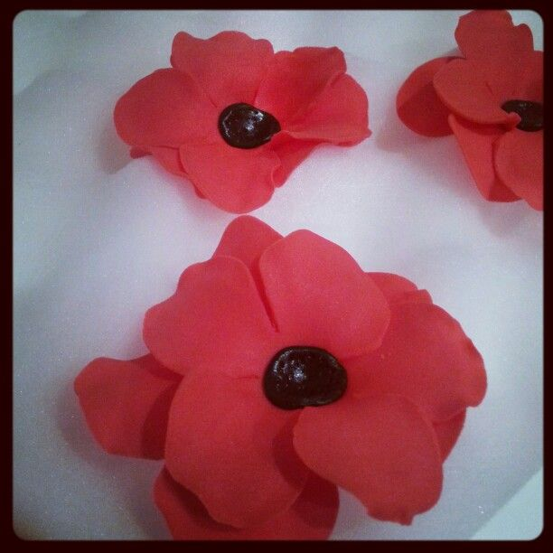 Gumpaste (flowerpaste) poppys using 5 petal rose cutters