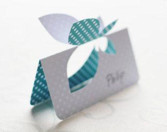 Farfalla matrimonio segnaposto con i nomi scritti di WhiteVeilShop