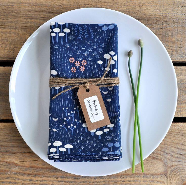 Gorgeous Organic Cotton blue flora handmade reusable napkins