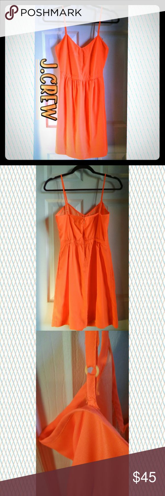 J. Crew Seaside Cami Dress (sz0) ~Fit-and-flare silhouette.  ~Falls above knee. ~Back zip. ~On-seam pockets. ~Lined. ~Import.  Color: Wildfire Pink Material: 100% polyester  Care: Dry Clean Style# 43785  ?Online Exclusive?   ??Stitching on one strap is slightly ripped. Shown in 3rd picture.??  Any questions please feel free to ask ? J. Crew Dresses Mini