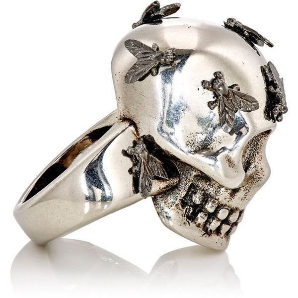 Alexander McQueen Men's Fly Skull Ring ($495) ❤ liked on Polyvore featuring men's fashion, men's jewelry, men's rings, jewelry, rings, mens skull rings and mens band rings
