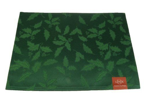"Lenox ""Holly Damask"", Placemat- Green by Lenox. $2.83. Machine washable. 58% Cotton/42% Polyester. 13-by-18 inch. Both sides are identical and useable.. Dress your table with lustrous grace in a gorgeous holiday hued placemat from Lenox. The finely textured holly damask pattern brings elegance and holiday cheer to your Christmas meal.  This tone-on-tone pattern features, holly leaves and berries on green solid background with a slight sheen."