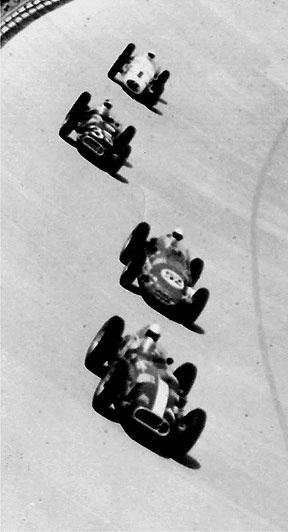 Indy roadsters at Monza in 1957. Pat O'Connor, Troy Ruttman, Eddie Sachs and Jimmy Bryan.