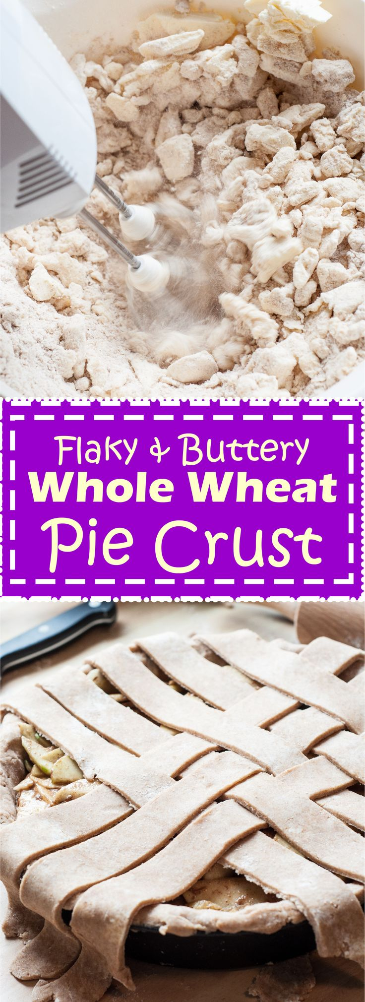 Healthier Whole Wheat Pie Crust Recipe that you can use for any of your holiday pie recipes or other dessert recipes. This flaky crust is vegan and dairy-free. | VeganFamilyRecipes.com |#dough #thanksgiving #christmas