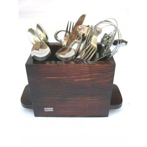 Relix wooden Cutlery stand (Single compartment) Finish: Stain and Melamine Wood: Pine Price: $20