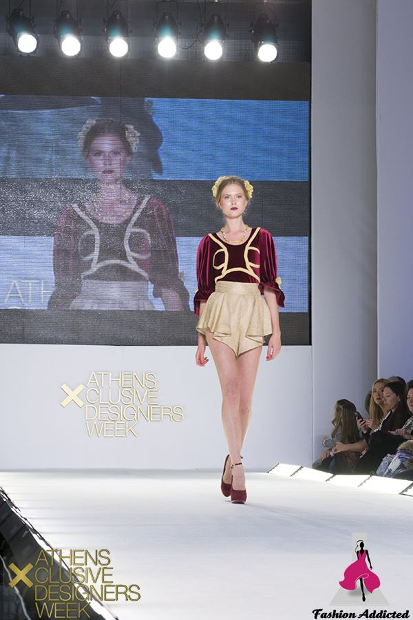 Stavrianna Georgiadi - Bordeaux floral velvet bodysuit, gold high-waisted short pants